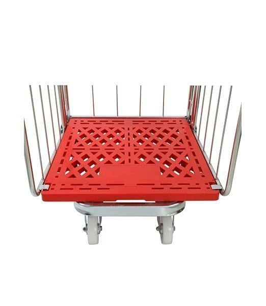 Four Sided Rod Infill Red Plastic Base Roll Pallet
